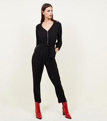 Black Zip Front Tapered Leg Jumpsuit