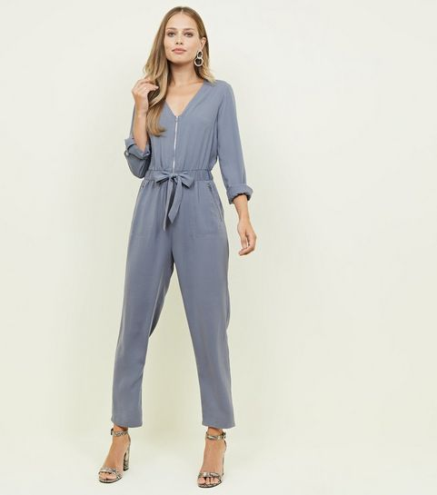 58a6f186928e ... Grey Zip Front Tapered Leg Jumpsuit ...