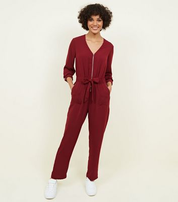 Burgundy Zip Front Tapered Leg Jumpsuit