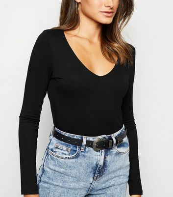 Black V-Neck Long Sleeve Bodysuit