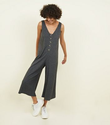 Grey Brushed Rib Button Front Jumpsuit