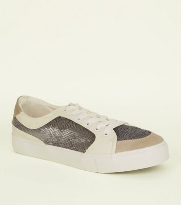 White Panelled Sequin Embellished Trainers