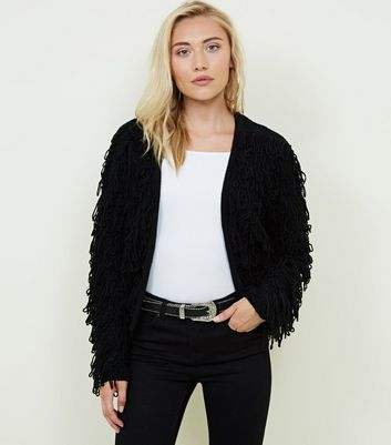 Petite Black Loop Knit Cardigan