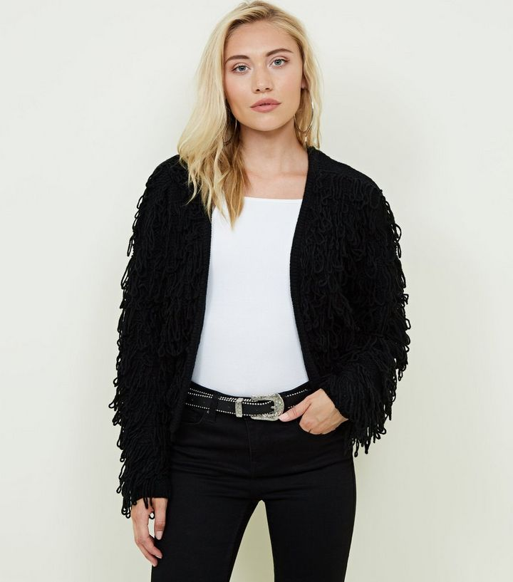 Black Shaggy Cardigan