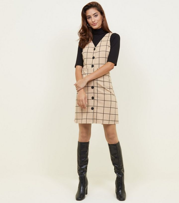 29f1485705 ... Camel Grid Check Button Through Pinafore Dress. ×. ×. ×. Shop the look