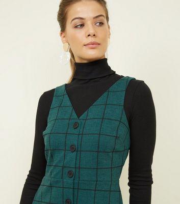 0bb61ba67d Dark Green Grid Check Button Through Pinafore Dress New Look - Female First  Shopping