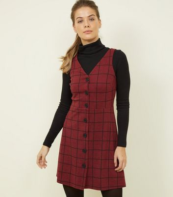 Burgundy Grid Check Button Through Pinafore Dress