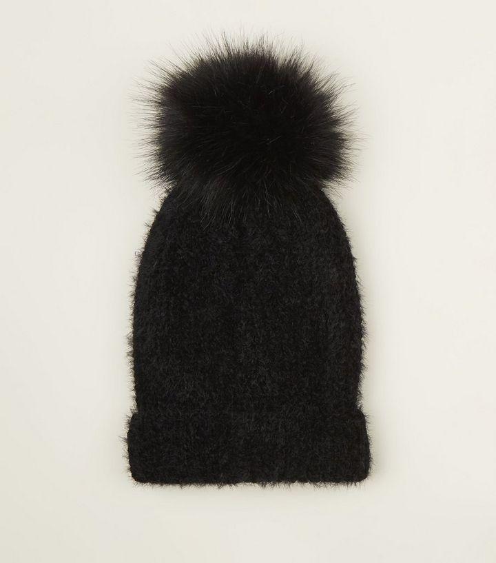 Black Ribbed Faux Fur Bobble Hat  e9158472484