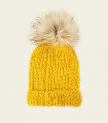Yellow Faux Fur Pom Pom Hat