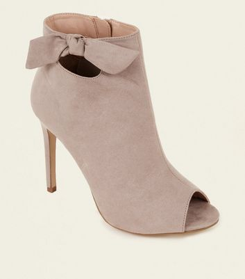 Grey Suedette Bow Side Stiletto Shoe Boots