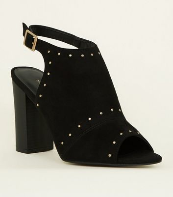 Black Studded Peep Toe Block Heels
