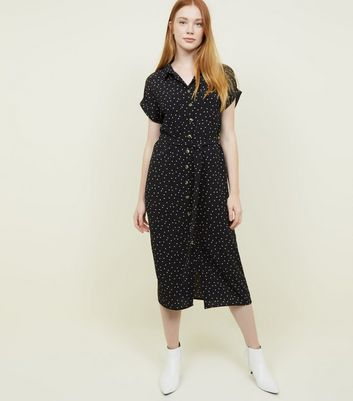 Black Star Print Midi Shirt Dress