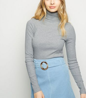 Tall Pale Grey Ribbed Roll Neck Jumper