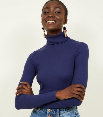 Tall Navy Ribbed Roll Neck Jumper