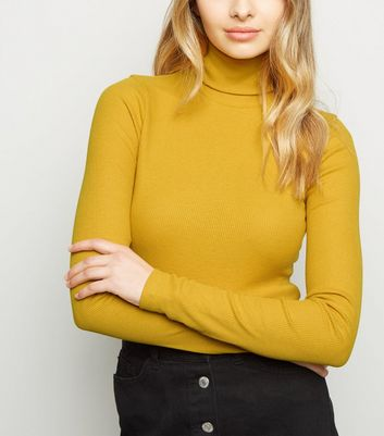 Tall Yellow Ribbed Roll Neck Jumper