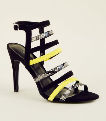 Yellow Faux Snakeskin Colour Block Strappy Stilettos