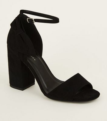 Black Suedette Side Bow Block Heels