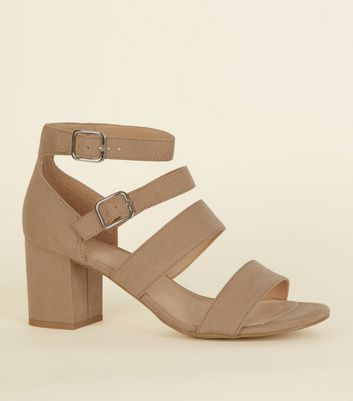 Light Brown Comfort Flex Suedette Strap Block Heels