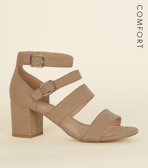 44d2a533bef ... Light Brown Comfort Flex Suedette Strap Block Heels ...