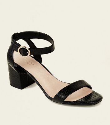 Black Comfort Flex Faux Croc Heeled Sandals
