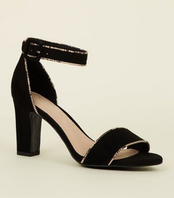 Black Comfort Flex Suedette Faux Snakeskin Trim Sandals