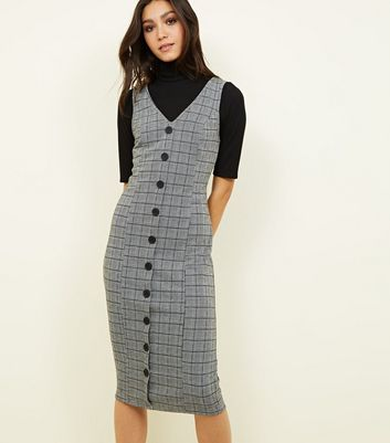 Black Check Button Front Bodycon Midi Dress
