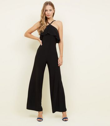 Black Frill Neck Trim Cross Strap Jumpsuit