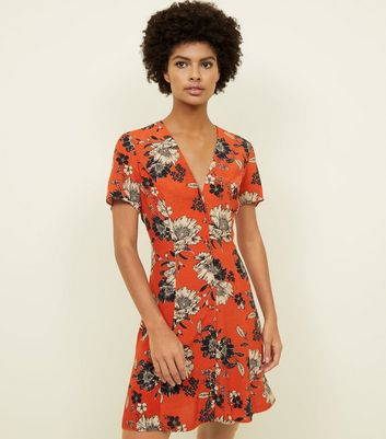 Tall Orange Ditsy Floral Print Button Through Tea Dress