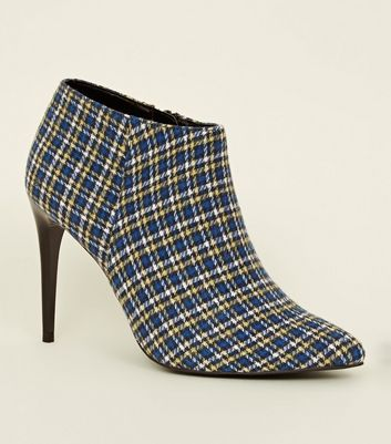Blue Check Pointed Stiletto Shoe Boots