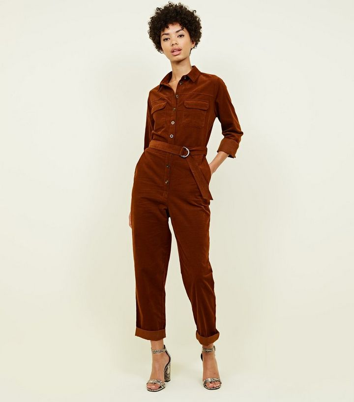 b26fe97c9cf0 Rust Corduroy Belted Utility Jumpsuit