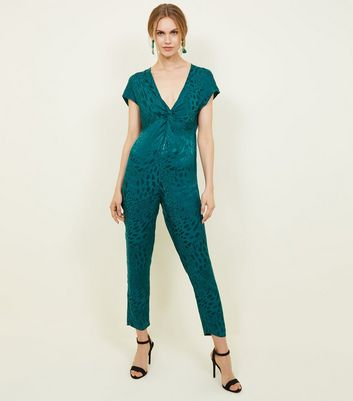 Dark Green Jacquard Knot Front Jumpsuit