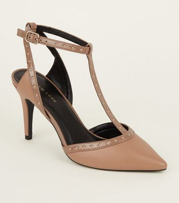 Camel Patent Stud Trim T-Bar Stiletto Heels
