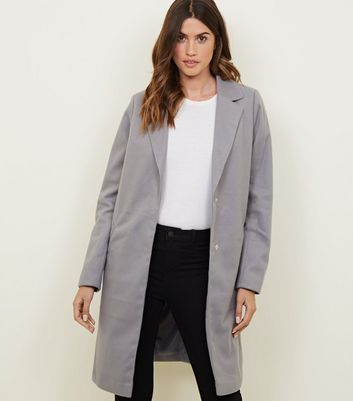 Tall Grey Revere Collar Longline Coat