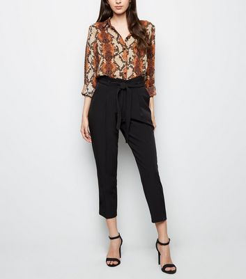 Black Paperbag Waist Crop Trousers