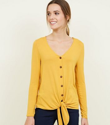 Mustard V Neck Button Tie Front Top
