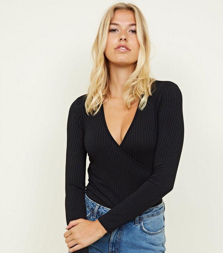 46de4f8b190a Black Ribbed Long Sleeve Wrap Bodysuit | New Look