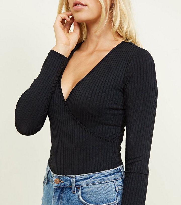 2fa768894644 ... Black Ribbed Long Sleeve Wrap Bodysuit. ×. ×. ×. Shop the look