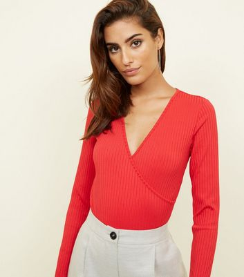 Red Ribbed Long Sleeve Wrap Bodysuit