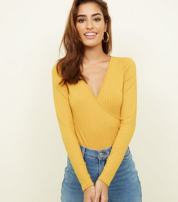Mustard Ribbed Long Sleeve Wrap Bodysuit