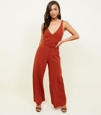 Rust Belted Wide Leg Jumpsuit