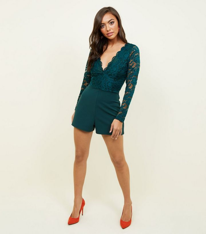 4c86d7b10e2 Dark Green V Neck Long Sleeve Lace Playsuit