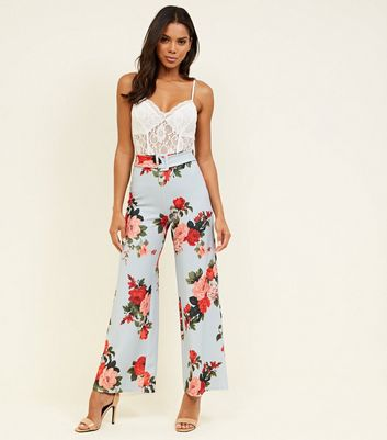Light Grey Floral Wide Leg Belted Trousers