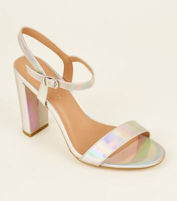 Wide Fit Silver Holographic Block Heels