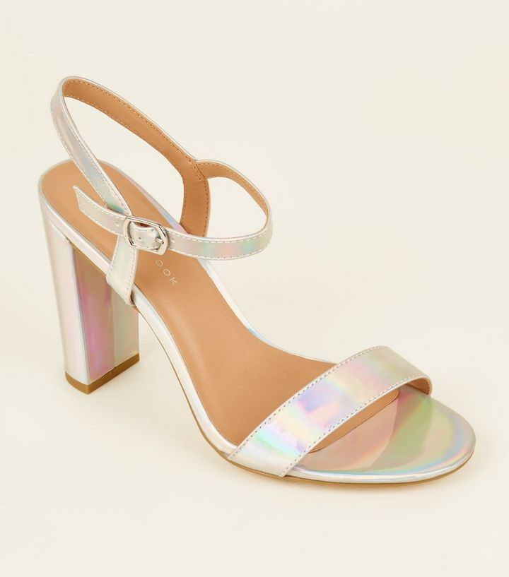 e94ed4be8c0 Wide Fit Silver Holographic Block Heels