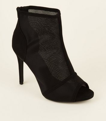 Wide Fit Black Mesh Stiletto Heel Peep Toes