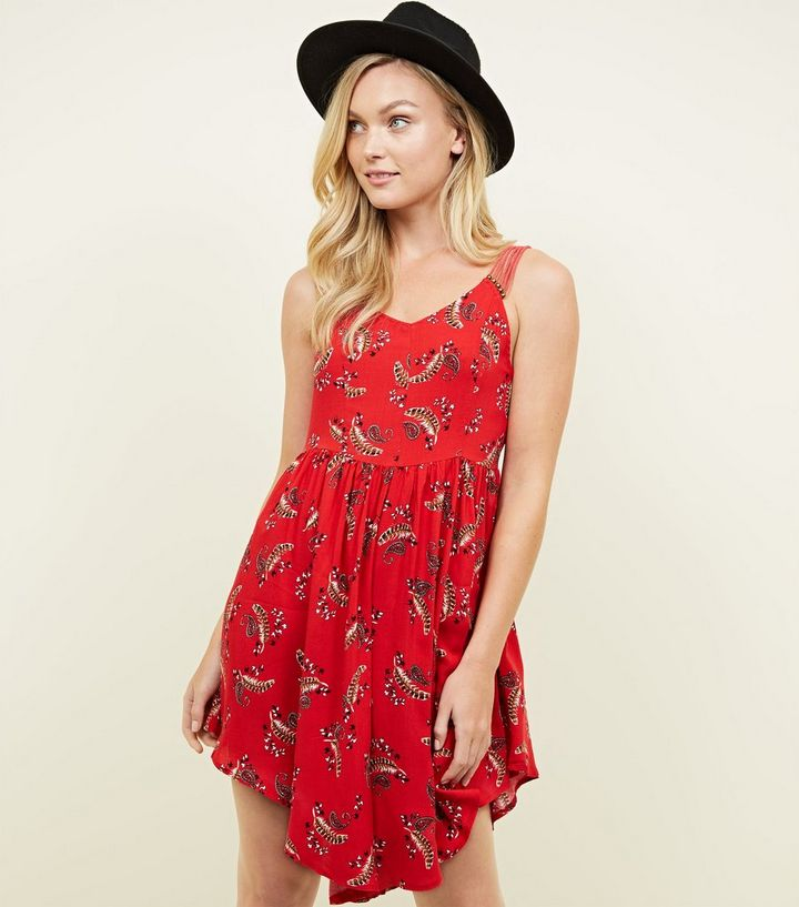 f80cc70def Apricot Red Paisley Feather Print Playsuit