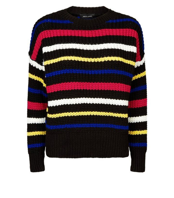 8eb5e3ca15 ... Black Multi Stripe Crew Neck Chunky Knit Jumper. ×. ×. ×. Shop the look