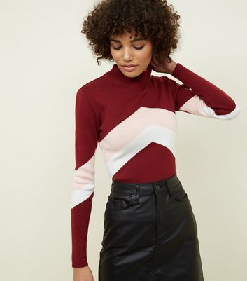 Burgundy Chevron Stripe High Neck Jumper