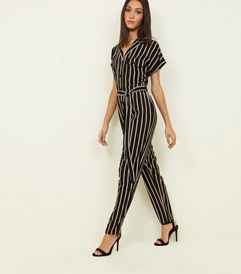 Tall Black Stripe Twill Button Through Jumpsuit