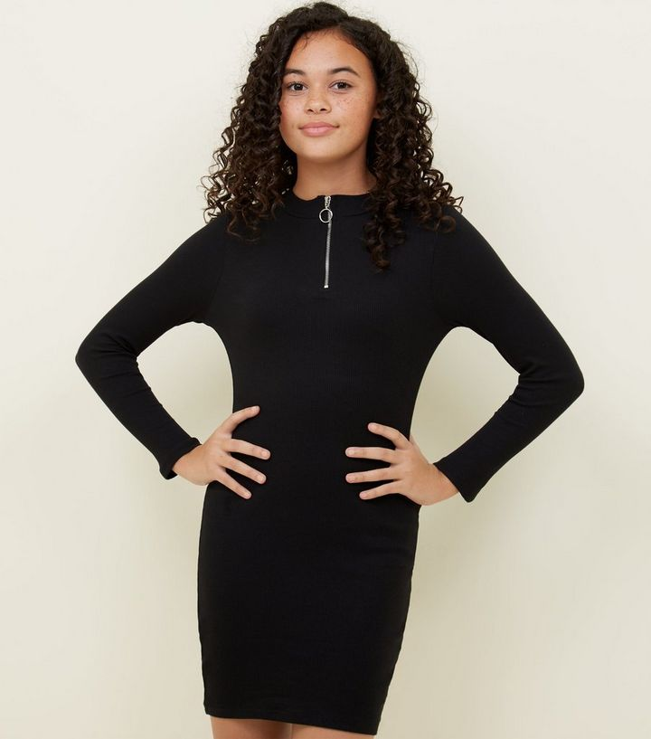 19b4c488b912 Girls Black Zip Front Bodycon Dress